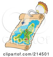 Royalty Free RF Clipart Illustration Of A Pirate Hook Holding A Treasure Map