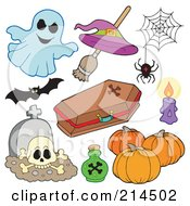 Royalty Free RF Clipart Illustration Of A Digital Collage Of Halloween Items 3 by visekart