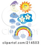 Royalty Free RF Clipart Illustration Of A Digital Collage Of A Moon Sun Stars Clouds And Rainbow