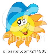 Royalty Free RF Clipart Illustration Of A Summer Sun Wearing A Blue Hat