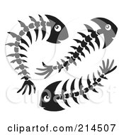 Royalty Free RF Clipart Illustration Of A Trio Of Black And White Fish Bones by visekart