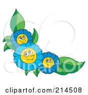 Royalty Free RF Clipart Illustration Of A Corner Of Happy Blue Flowers