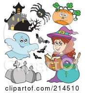 Royalty Free RF Clipart Illustration Of A Digital Collage Of Halloween Items 5