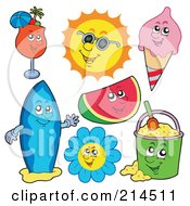 Royalty Free RF Clipart Illustration Of A Digital Collage Of A Cocktail Sun Ice Cream Watermelon Flower Surf Board And Sand Bucket by visekart