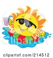 Royalty Free RF Clipart Illustration Of A Summer Sun Floating On An Inner Tube