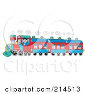 Royalty Free RF Clipart Illustration Of A Train Driver On A Happy Train