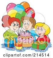 Royalty Free RF Clipart Illustration Of A Boy Blowing Out His Birthday Candles by visekart