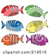 Royalty Free RF Clipart Illustration Of A Digital Collage Of Fish Bones 1 by visekart