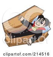 Royalty Free RF Clipart Illustration Of A Vampire Emerging From His Wood Coffin
