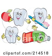 Royalty Free RF Clipart Illustration Of A Digital Collage Of Tooth Characters 3 by visekart