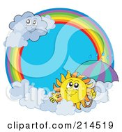 Royalty Free RF Clipart Illustration Of A Summer Sun And Rain Cloud Rainbow Circle by visekart