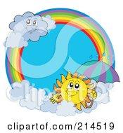 Royalty Free RF Clipart Illustration Of A Summer Sun And Rain Cloud Rainbow Circle