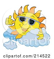 Royalty Free RF Clipart Illustration Of A Summer Sun Smiling And Sporting Shades 6
