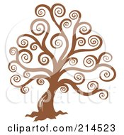 Royalty Free RF Clipart Illustration Of A Brown Swirly Tree Design