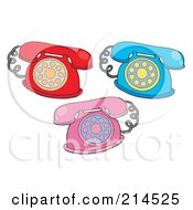 Royalty Free RF Clipart Illustration Of A Digital Collage Of Retro Phones