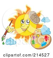 Royalty Free RF Clipart Illustration Of A Summer Sun Artist With Paints