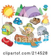 Royalty Free RF Clipart Illustration Of A Digital Collage Of Summer Recreation And Camping