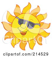 Royalty Free RF Clipart Illustration Of A Summer Sun Smiling And Sporting Shades 7
