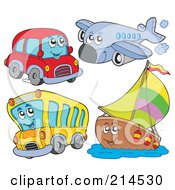 Royalty Free RF Clipart Illustration Of A Digital Collage Of Transportation Characters
