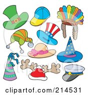 Royalty Free RF Clipart Illustration Of A Digital Collage Of Hats 1