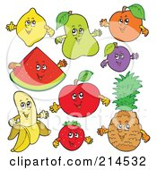 Royalty Free RF Clipart Illustration Of A Digital Collage Of Happy Fruits by visekart