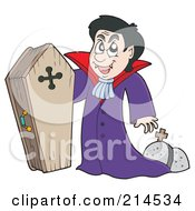 Royalty Free RF Clipart Illustration Of A Vampire Standing By His Wood Coffin