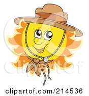 Royalty Free RF Clipart Illustration Of A Summer Sun Wearing A Scout Hat