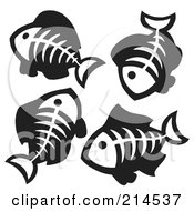 Royalty Free RF Clipart Illustration Of A Digital Collage Of Fish Bones 2 by visekart
