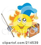 Royalty Free RF Clipart Illustration Of A Summer Sun Professor Holding A Book And Pointer Stick