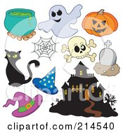Royalty Free RF Clipart Illustration Of A Digital Collage Of Halloween Items 2 by visekart