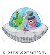 Royalty Free RF Clipart Illustration Of A UFO With Aliens by visekart