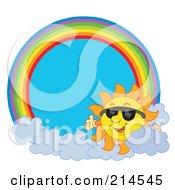 Royalty Free RF Clipart Illustration Of A Summer Sun And Sunglasses Rainbow Circle