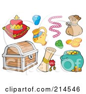 Royalty Free RF Clipart Illustration Of A Digital Collage Of Treasure Items