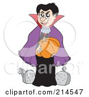 Royalty Free RF Clipart Illustration Of A Vampire Holding A Pumpkin In A Cemetery