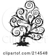 Royalty Free RF Clipart Illustration Of A Black And White Bare Floral Swirl Tree Design