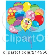 Royalty Free RF Clipart Illustration Of A Bundle Of Balloons One With A Happy Face by visekart