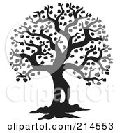 Royalty Free RF Clipart Illustration Of A Black And White Silhouetted Leafy Tree Design 2