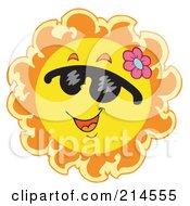 Royalty Free RF Clipart Illustration Of A Summer Sun Smiling And Sporting Shades 3
