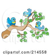 Royalty Free RF Clipart Illustration Of A Tree Branch With Leaves And Birds by visekart