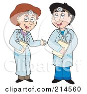 Royalty Free RF Clipart Illustration Of Male And Female Doctors Talking by visekart