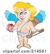Royalty Free RF Clipart Illustration Of A Cute Blond Cupid Holding Out A Gift