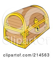 Royalty Free RF Clipart Illustration Of A Locked Empty Treasure Chest