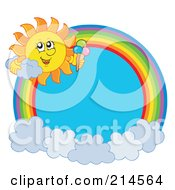 Royalty Free RF Clipart Illustration Of A Summer Sun And Ice Cream Rainbow Circle by visekart