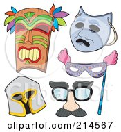 Royalty Free RF Clipart Illustration Of A Digital Collage Of Various Masks 2