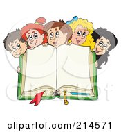 Royalty Free RF Clipart Illustration Of A Happy School Children Over An Open Book by visekart