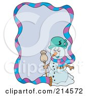 Royalty Free RF Clipart Illustration Of A Wintry Snowman And Scarf Border Around Purple