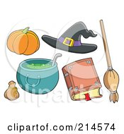 Royalty Free RF Clipart Illustration Of A Digital Collage Of Halloween Items 7 by visekart