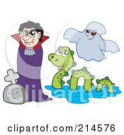 Royalty Free RF Clipart Illustration Of A Digital Collage Of A Vampire Monster And Ghost