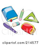 Royalty Free RF Clipart Illustration Of A Digital Collage Of School Stuff 2 by visekart