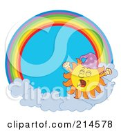 Royalty Free RF Clipart Illustration Of A Summer Sun Yawning In A Rainbow Circle